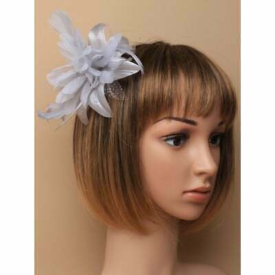 Silver Grey Flower Fascinator with Feather Tendrils