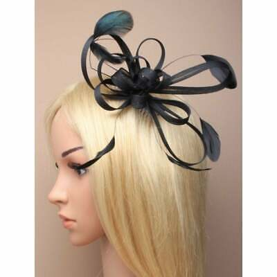 Black fascinator comb with net bow loops and feather tendrils