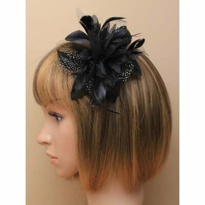 Black fascinator comb flower with feather tendrils