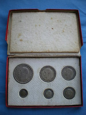 1927 6 COIN SILVER PROOF YEAR SET WITH WREATH CROWN AND RARE THREEPENCE 3d.
