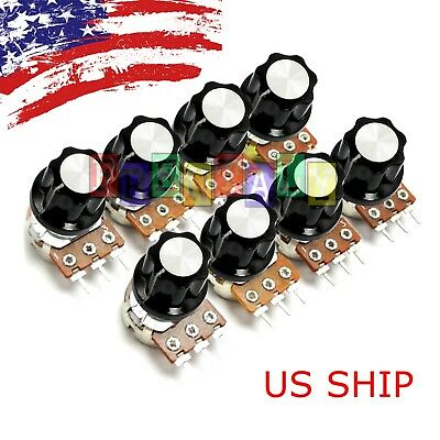 8Pcs Single 3-Pin Rotary Potentiometer Panel Pot Kit 15mm Shaft With Caps Washer
