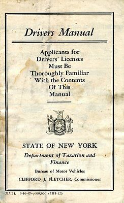 Old DRIVERS MANUAL State of New York Motor Vehicle 1947 booklet