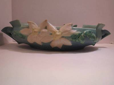 "Vintage Roseville Pottery Clematis 12"" Blue Green Console Bowl Flowers #460-12"""