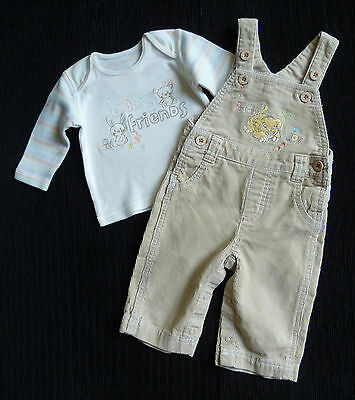 Baby clothes UNISEX BOY GIRL 0-3m Disney lion beige corded dungarees/cream top