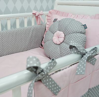 **NEW EXCLUSIVE & LUXURY BABY GIRL COT/BED BEDDING SET - pink & grey polka dot