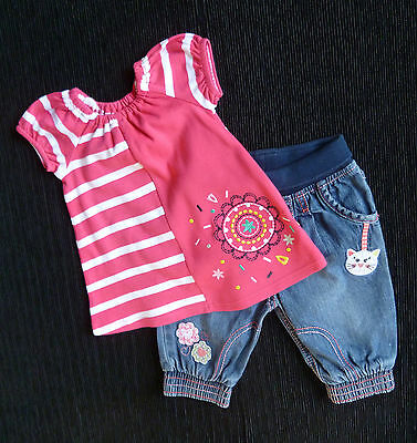 Baby clothes GIRL 3-6m M&S brushed cotton dress top/George denim jeans SEE SHOP!