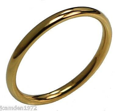 2mm wedding band ladies or mens 18K gold overlay ring size 9