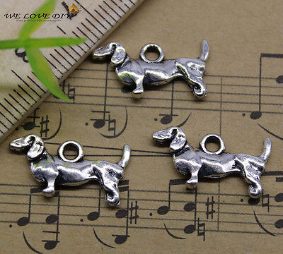 20/60/100pcs retro style Lovely sausage dog alloy charms pendant 10x18mm