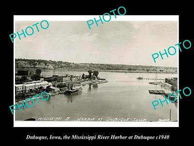 OLD LARGE HISTORIC PHOTO OF DUBUQUE IOWA, VIEW OF THE TOWN & HARBOR c1940 2