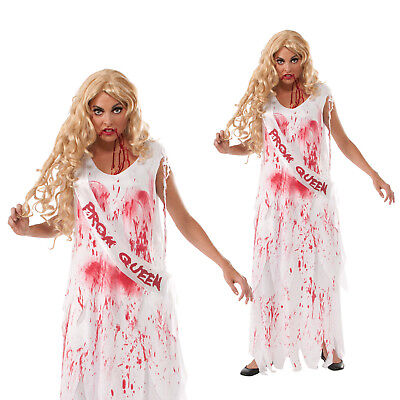 Womens Rubies Bloody Prom Queen Halloween Party Ladies Fancy Dress Costume