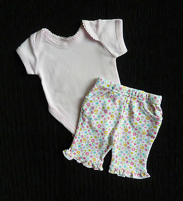 Baby clothes GIRL premature<7.5lbs/3.4kg outfit floral trousers/pink bodysuit