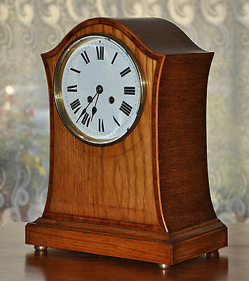 French Oak Cased Inlaid Mantel / Balloon / Bracket Clock Couaillet Freres (0216)