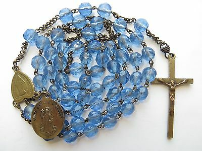 Late 1800's Antique Icy Blue Glass Beads Rosary in Brass-Immaculate/St Benedict