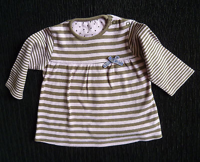 Baby clothes GIRL 3-6m George pink/beige soft brushed cotton striped dress
