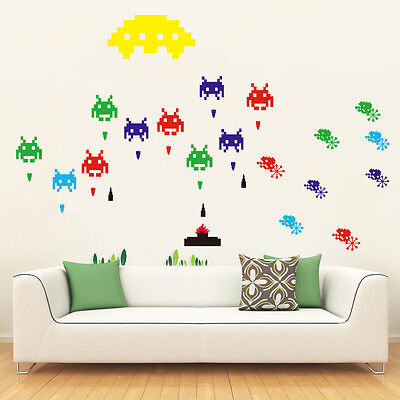 Space Invaders 80's Retro Children's Adult Wall Art Stickers Decals Huge Sheet