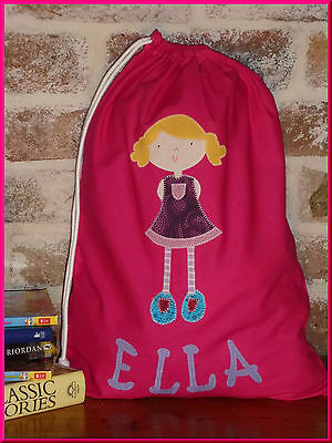 Child's/girls Personalised Name Library Bag /toy Bag - Girl -