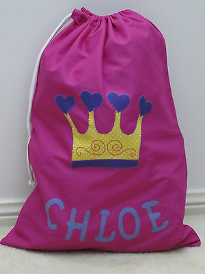 Child's/girls Personalised Name Library Bag /toy Bag  -  Crown -