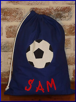 Child's/boys Personalised Name Library Bag /toy Bag - Soccer Ball -