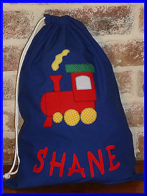 Child's/boys Personalised Name Library Bag /toy Bag - Train  -
