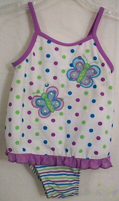 Okie Dokie One-Piece Butterfly Ruffle Multi-Color Polka Dots Swim Suit 18 M Poly