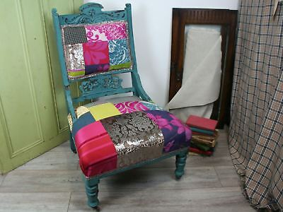 Crazy Patchwork Chair, Multicoloured Patchwork Fireside Antique Chair, Blues,