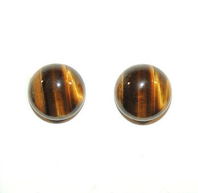 Tiger's Eye 12mm Round Cabochons Set of 2 (9465)