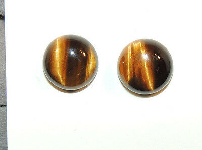 Tiger's Eye 12mm Round Cabochons Set of 2 (9467)