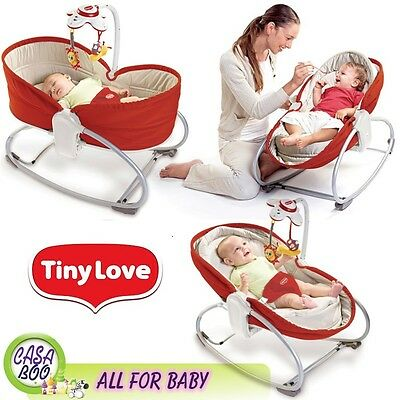 Tiny Love 3 in 1 Rocker Napper Baby Sleeping Feeding Vibrating Bouncer Chair Red