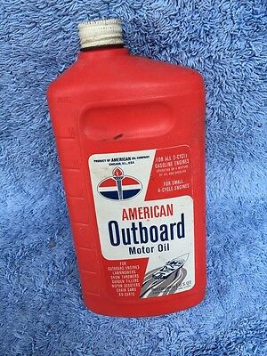 Vintage 1960s American Outboard Motor Oil Rare Plastic Early Can Standard