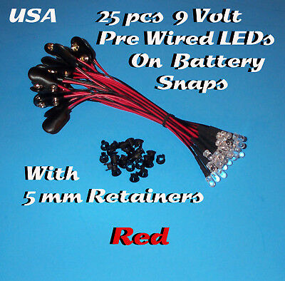 25 PRE WIRED 5MM LEDs 9 VOLT RED LED ON BATTERY SNAP 9V PREWIRED (Halloween)