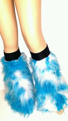 Blue White Tone Fluffy Furry  Boot Covers Legwarmer Rave Halloween Clubwear