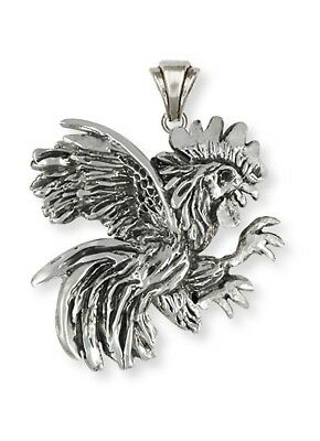 Handmade Fighting Rooster Pendant Jewelry Sterling Silver   HM-RST3R-P
