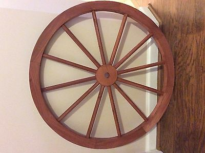 """36"""" Red Stained Wooden Wagon Wheel Western Style Garden Decorative"""