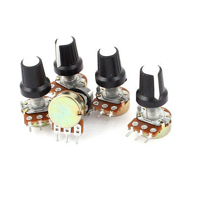 5pcs 5K OHM 3 Terminal Linear Taper Rotary Volume B Type Potentiometer Pot White