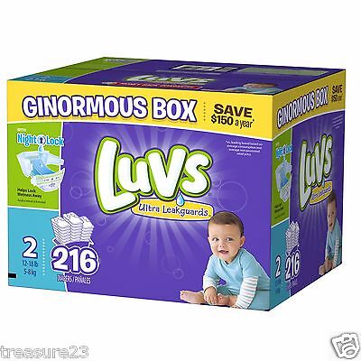 Luvs Ultra Leakguards Diapers, Size 2, 216 Count, 12-18lbs FREE SHIPPING