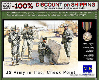 """Master Box 3591 """"US Check Point In Iraq"""" U.S. Marines 4 Figures Scale 1/35"""