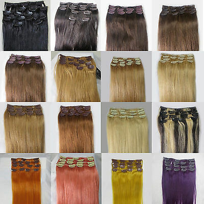 15-36 inch Straight Full Head Women Clip in 100% Real Soft Human Hair Extensions
