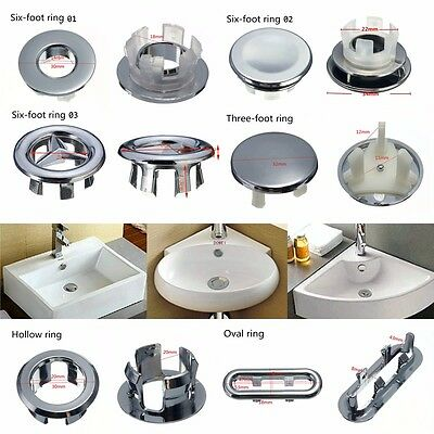 7 Oeted Artistic Sink Overflow Spare Cover Chrome Trim Bathroom Ceramic Basin