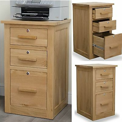 Arden solid oak furniture three drawer office storage filing cabinet with locks