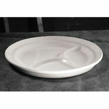 Diversified Ceramic 3 Compartment Plate, 8 1/4 inch Diameter - Standard Color --