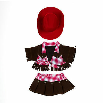 "Teddy Bear COWGIRL Outfit w/RED HAT CLOTHES Fit 14""-18"" Build-a-bear !!NEW!!"
