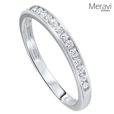 925 Sterling Silver Wedding Ring Womens Stackable Channel AAA CZ Accent Band NEW