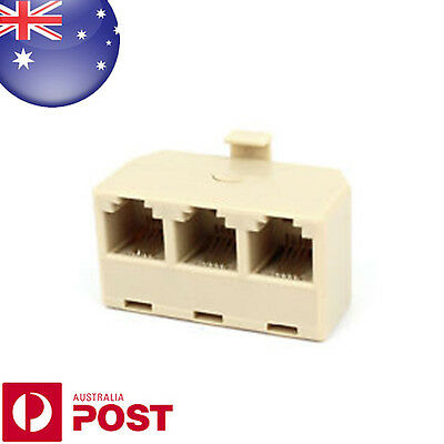 RJ11 6P4C Male to 3 Port Female Telephone line Splitter NEW AUS POSTAGE - 0286