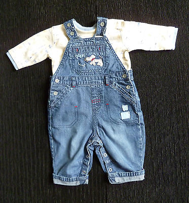 Baby clothes BOY 0-3m NEXT denim dungarees/George/cream/blue long sleeve top