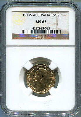 1917S Australia Gold Sovereign, NGC MS62. King George V. Sydney Mint.