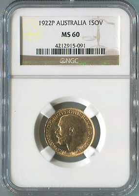 1922P Australia Gold Sovereign, NGC MS60. King George V. Perth Mint.