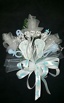 Baby shower MOMMY baby footprints corsage boy or girl pink or blue