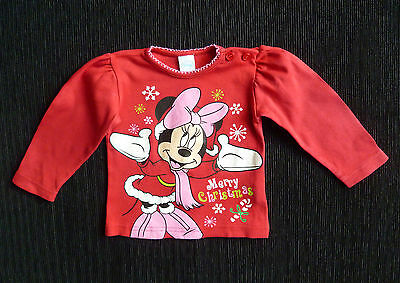 Baby clothes GIRL 0-3m Disney Minnie Mouse Christmas long sleeve red top SEE SHO