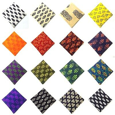Men Women Unisex Pocket Square Handkerchief Hanky - 100% Cotton - BLOCK PRINT