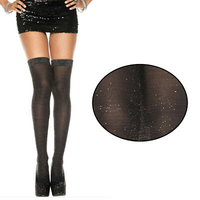 1a72afc424a49 Opaque Lurex Glittering Silver Sparkles Thigh Highs Stockings Costume  Hosiery OS